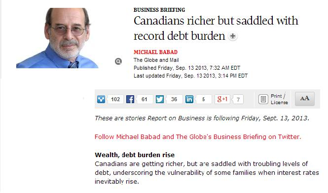 canadieans richer but saddled with record debt burden